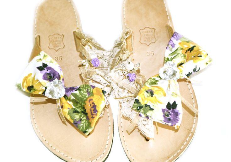 floral sandals Lne's artwork