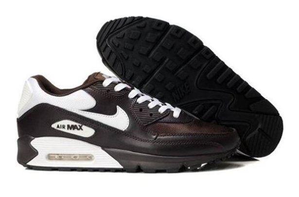 q4x22 Nike Air Max 90 Mens Shoes White Brown