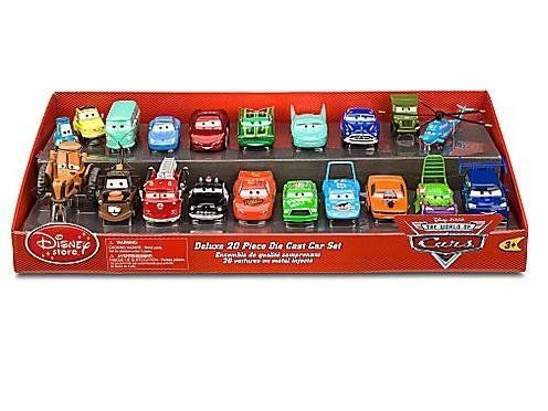 Disney / Pixar CARS Movie Exclusive Deluxe 20 Piece Set - 1 to 48 Scale Oversized Die Cast Cars by Mattel. $549.00. Oversized cars - Each car is 3'' to 5'' length. 20 toy cars from Disney/Pixar hit movie Cars - including Lightning McQueen and the whole gang. Ruffle some fenders with this Deluxe 20 Piece Die Cast Cars Set! Starring all of your favorite hot rods from the Disney/Pixar film Cars, this set is perfect for play or display. Vroom vroom! Guido, Luigi, Sally, Lightning Mc...