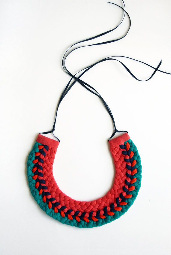 Statement Collar Necklace - woven upcycled t shirts - 'la paz' colourway
