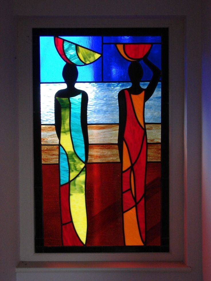 African ladies based on Tilly Wilson glass. Stained and painted glass.