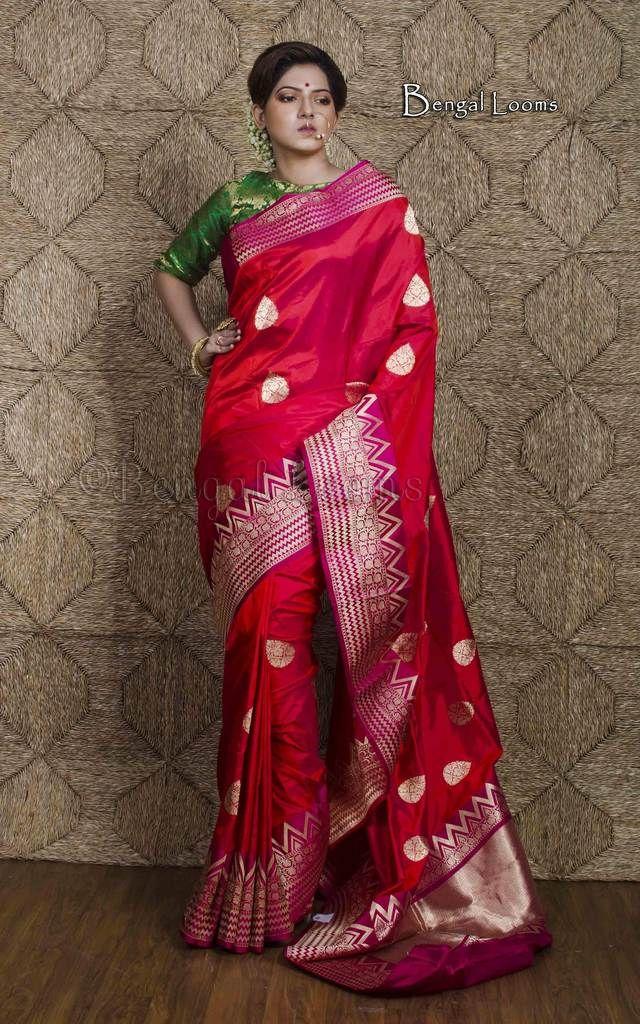 c7d89cbf4d Premium Quality Katan Silk Banarasi Saree in Red and Magenta | Good ...