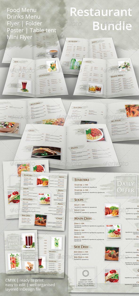 Restaurant or bar BUNDLE - summer style Food menu, Bar and Restaurant
