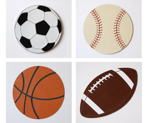 Sports Theme Kids Wall Decor Baseball Decor Football by WallDuds, $100.00