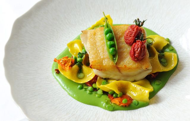 Brill, English peas, heirloom tomatoes, farfalle by Luke Holder