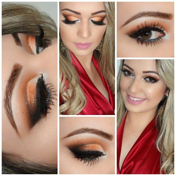 Image result for orange black and brown eye makeup