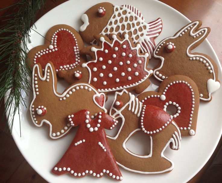 Czech Christmas gingerbreads. Hand decorated.