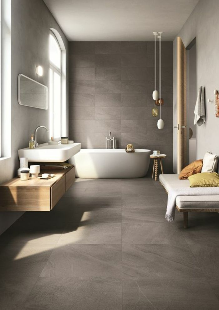 51 best Salles de bain images on Pinterest Bathroom, Bathrooms and - Salle De Bain Moderne Grise