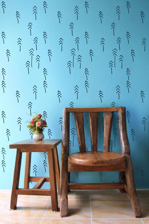 StenCilit - Pines and Tribes Scandinavian wall stencil #diy #homedesign #wall #decor #walldecoration #sisusta #sisustusidea #seinä #tapetointi