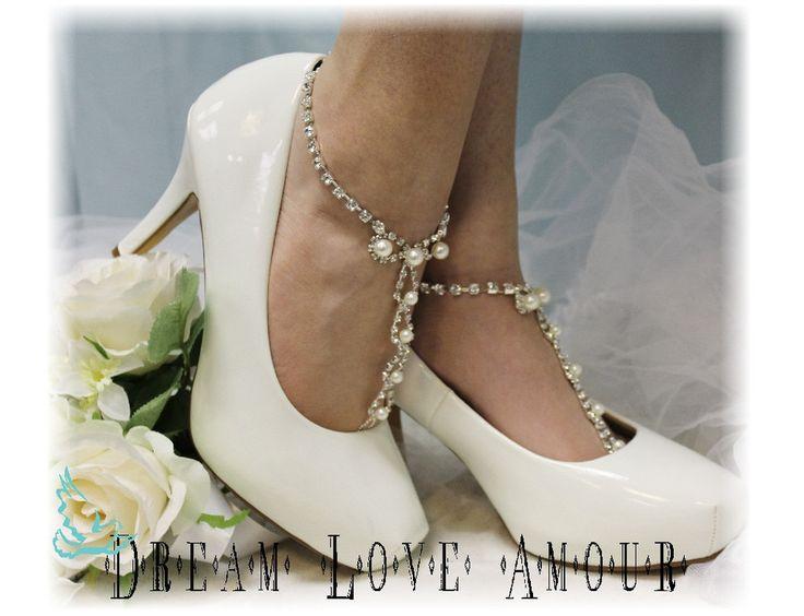 Barefoot Sandals, Parisian, footless, wedding, beach, beaded, pearl, rhinestone, silver | SJ2