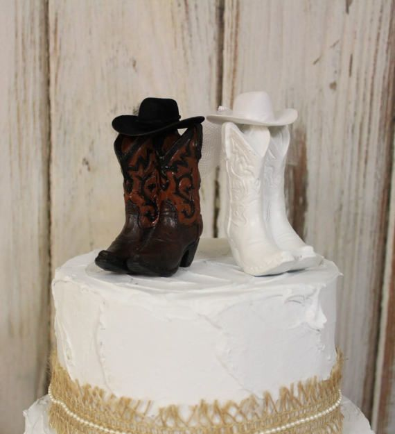 Rustic Cake Topper His And Her Western Cowboy Boots Wedding Barn NEW Larger
