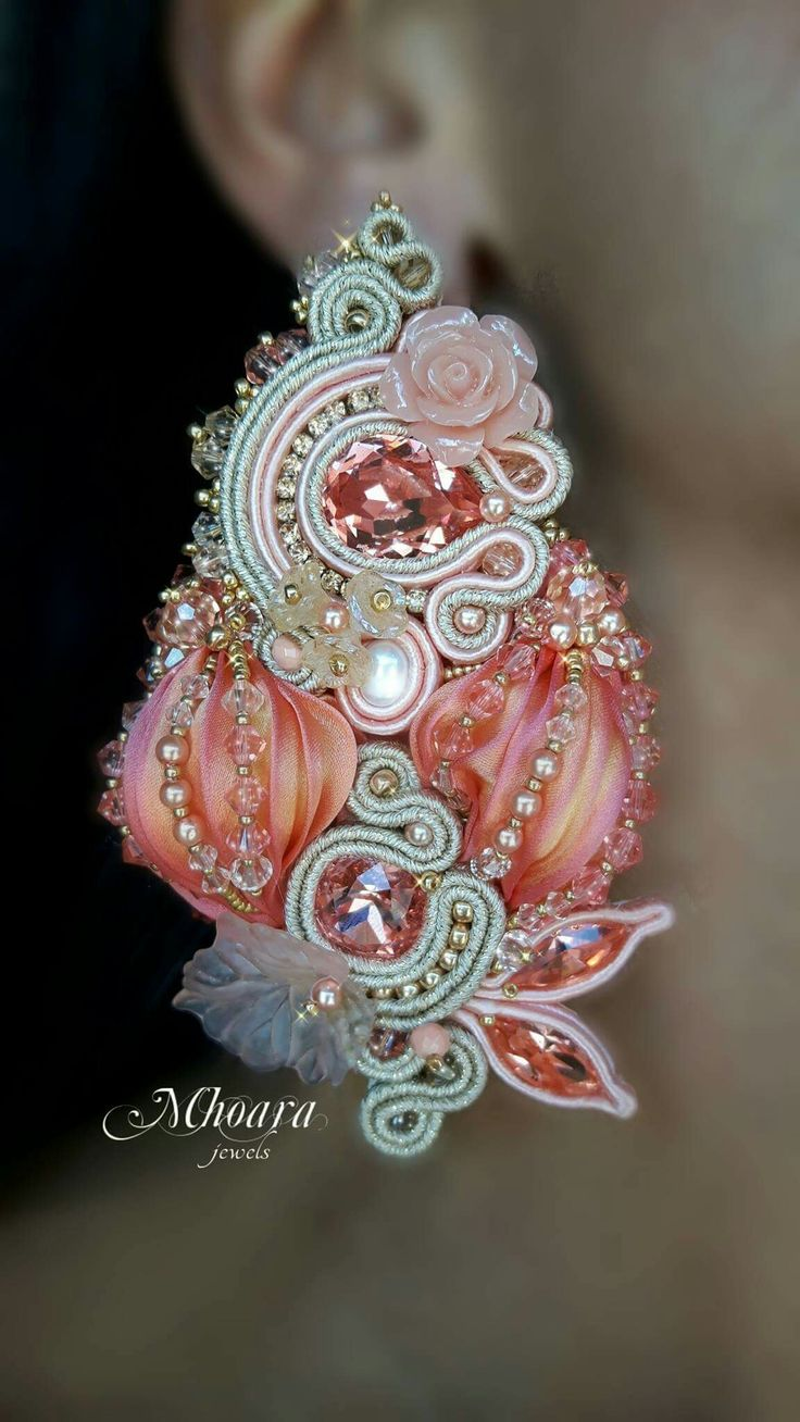 Shibori silk and soutache earrings by Mhoara Jewels