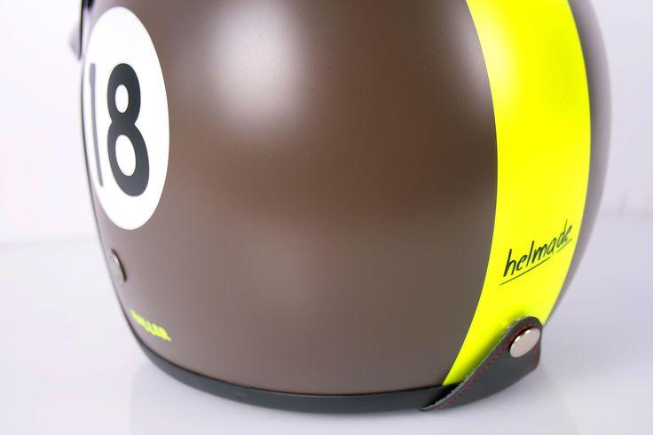 #helmade #two #retrospective in #brown and #neon #yellow for Haller. #helmetdesign #customhelmet #designyourown #helmet #helm #retro #scooter #vintage Design your own helmet on www.helmade.com