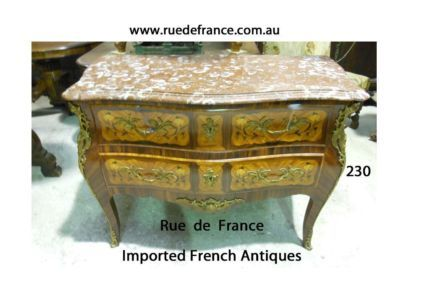 ANTIQUE- VINTAGE FRENCH MARQUETRY INLAY MARBLE TOP -BRONZE MOUNT CHEST OF DRAWERS