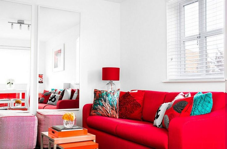 Small Living Room With Mirrors And A Red Sofa : Decorating Ideas With A Red Sofa