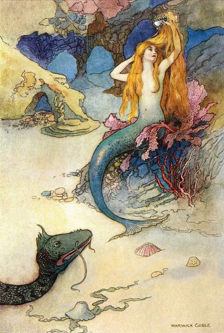 "oldchildrensbooks: "" The Mermaid and the Dragon. Artist : Warwick Goble. """