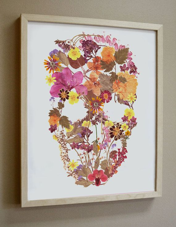 Pressed Flower Skull  Print by fromroses on Etsy, it would be cool for the kids to make their own pic then create it with pressed flowers