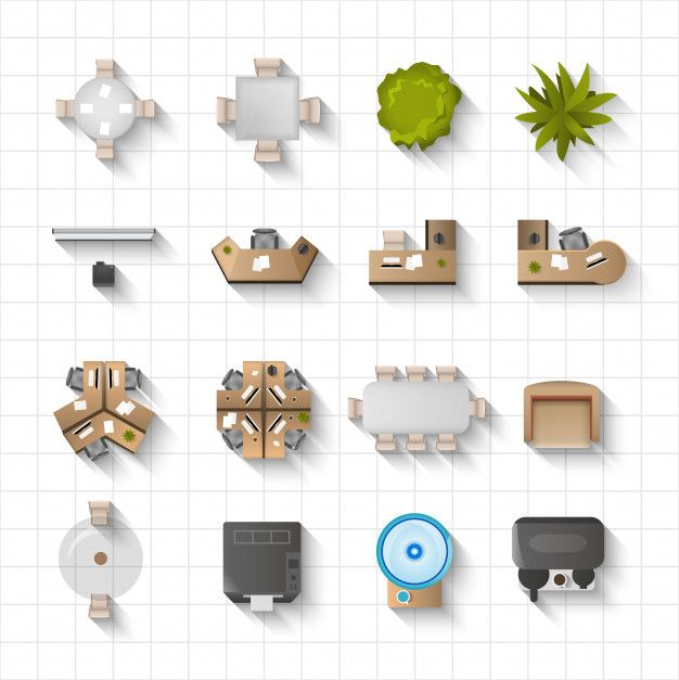Download Office Interior Icons Top View For Free With Images