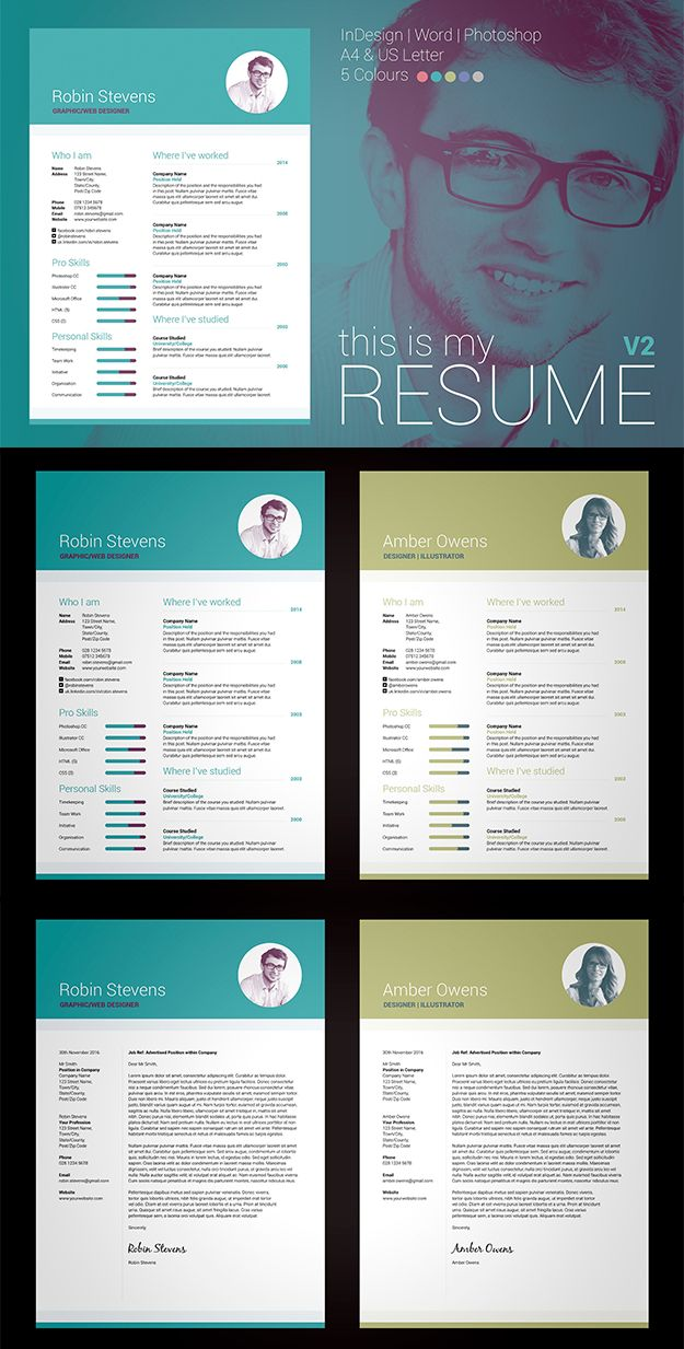 Professional, Modern Resume/CV / Cover letter template. My Resume V2. Easily edit in MS Word / Photoshop / inDesign. #resume #cv #template