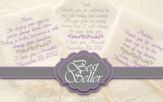 Best Seller, Pinterest Favorite, Embroidered Wedding Hankerchiefs, Wedding Gift, Set of Three By Canyon Embroidery