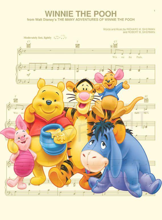Winnie the Pooh & Friends Music Sheet Art Print by AmourPrints