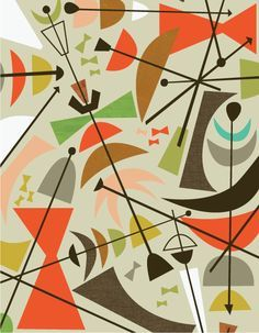 modern gicle, midcentury prints, jenn ski, modern art nouveau, midcenturi modern,