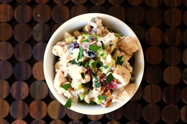 Made: Chicken Salad.  I've heard of walnuts and cranberries in chicken salald before, but adding some white wine vinegar sure helps take away the mayo intensity!