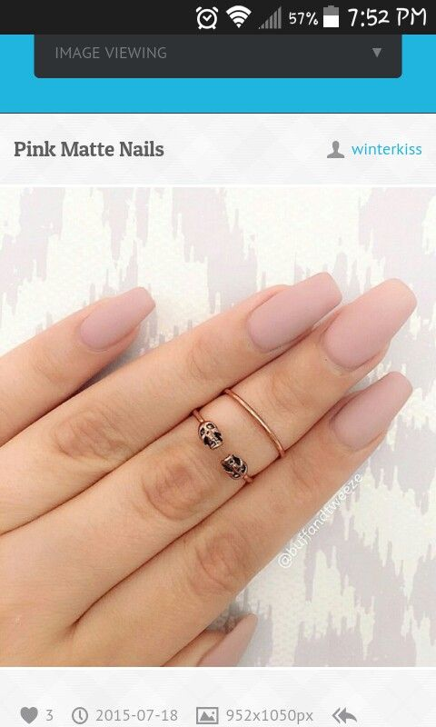 Soft rosey matte coffin nails
