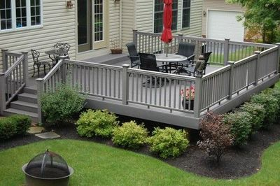 I like the little shrubs around the base of the deck.
