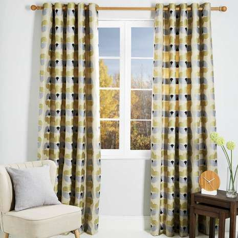 Anderson Yellow Lined Eyelet Curtains | Dunelm