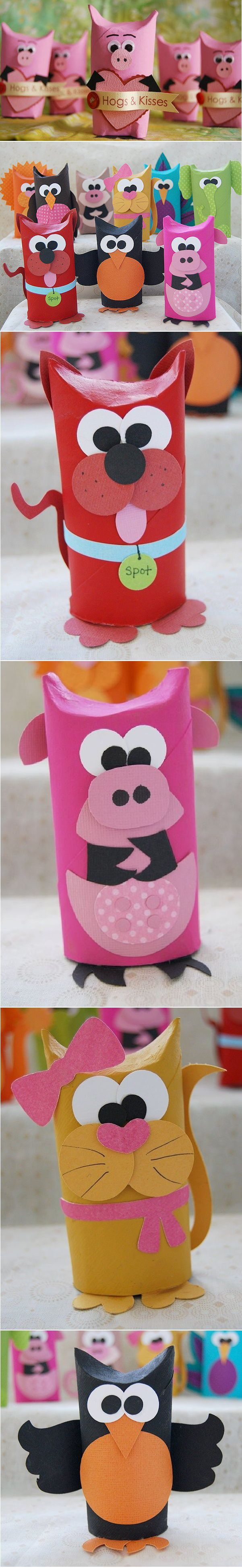 DIY Toilet Tube Animals. Maybe use the extra tubes for this project. :)
