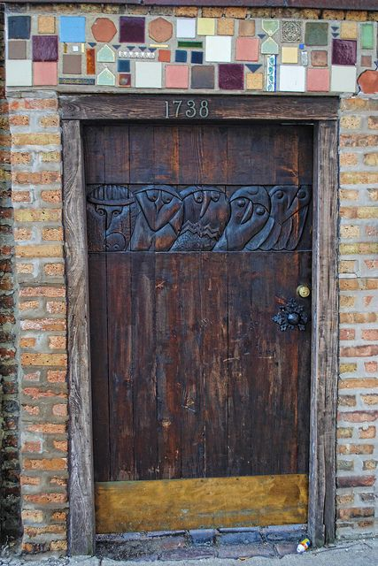 Wooden door, North Wells Street
