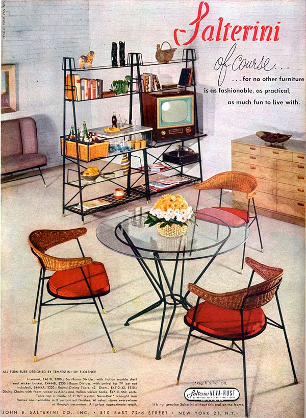 Salterini Metal Furniture TEMPESTINI OF FLORENCE Room Divider TV Chairs  1953 AD