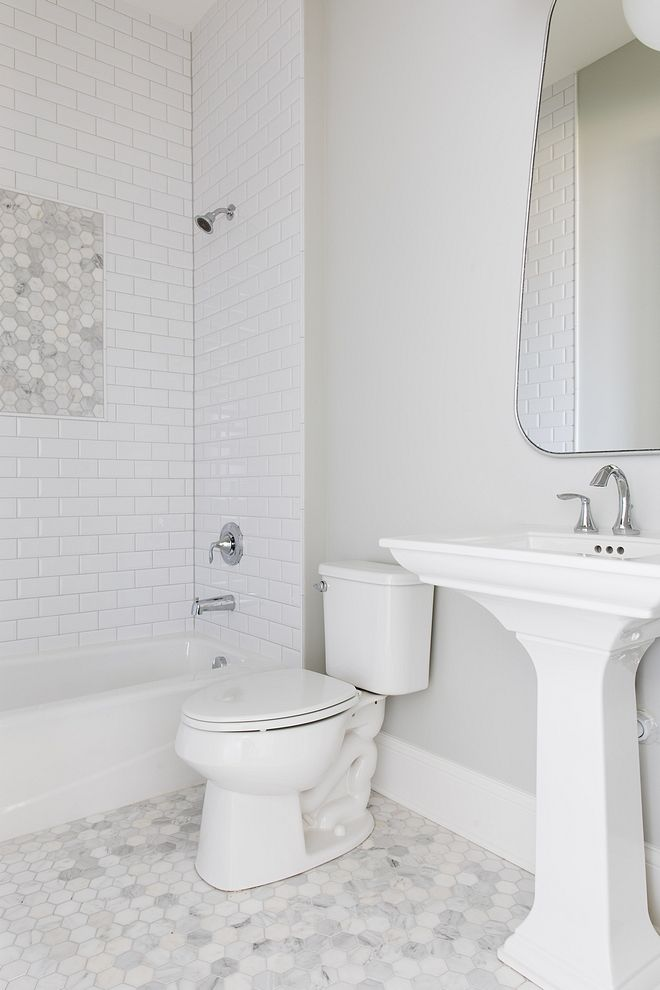 Gray Owl Oc 52 By Benjamin Moore Bathroom Wall Paint Color With Marble Hex Tile Gray Owl Oc 52 By Ben Carrera Marble Bathroom Bathtub Tile Bathroom Wall Colors