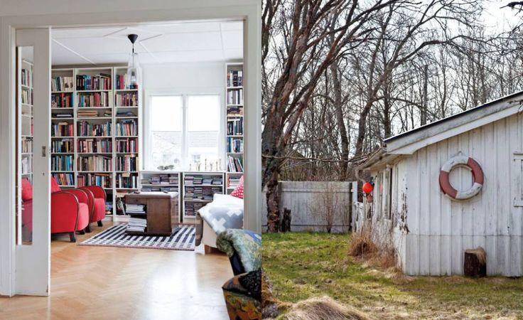 Att sjunka ner i bibliotekets gamla fåtöljer och läsa eller spela spel är något som samtliga familjemedlemmar tycker om. Det lilla vita uthuset smälter fint ihop med huvudbyggnaden.