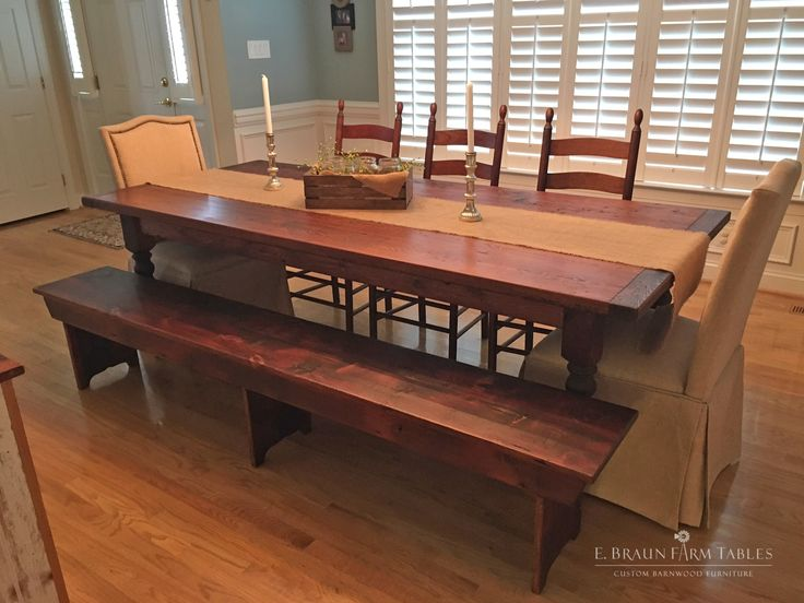 Reclaimed barn wood table (farm table) and matching barn wood bench,  handcrafted in - 674 Best Reclaimed Barn Wood Furniture By E. Braun Farm Tables