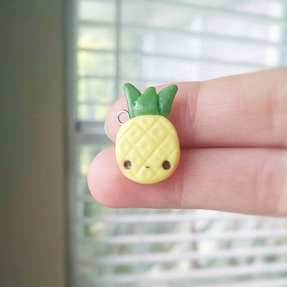 Kawaii Pineapple - Polymer Clay Charm, Polymer Clay Jewelry, Pendant, Jewelry, Miniature Food, Fruit, Kawaii Charm, Summer, Yellow, Cute
