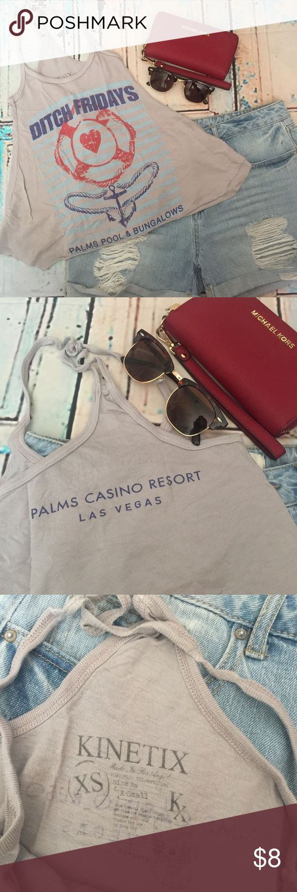 ⚡️Sale⚡️Palms Casino Resort Racerback Crop Top 🌸in used condition, straps were really long so I had it in a knot. Just recently unknotted it. Kinetix Tops Tank Tops