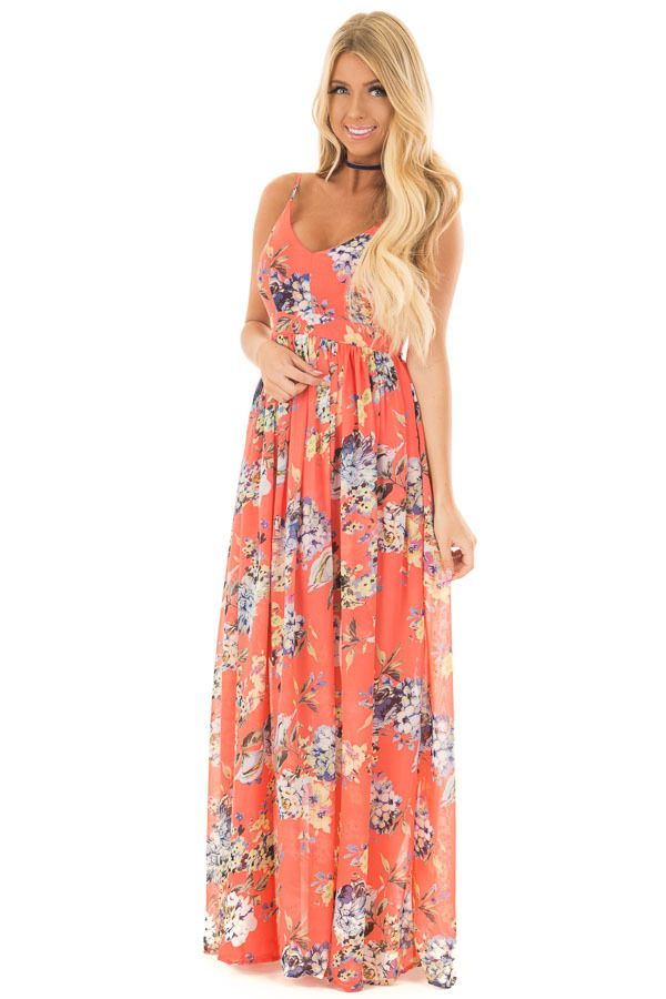 0d7a7dd3556 Coral Floral Print Open Back Maxi Dress