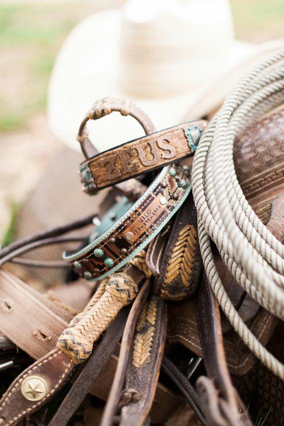 CUSTOM Leather Dog Collar // Southwestern by JandBCustomLeather