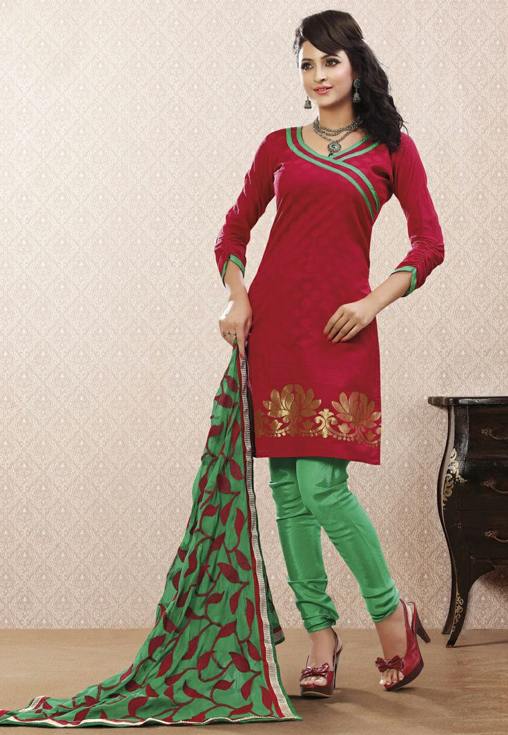 Red Chanderi Cotton Churidar Kameez @ $40.00 | Salwar ...