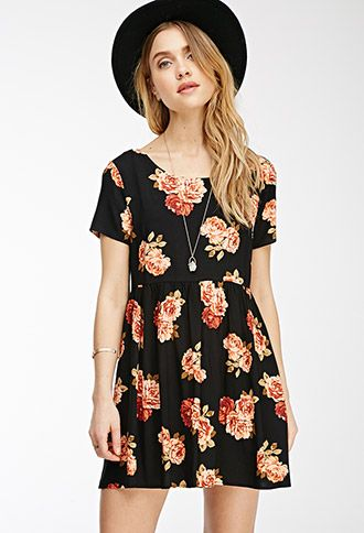 We can already think of a million ways to style this short-sleeved babydoll dress. The allover rose print would look killer toughened up with a moto jacket. On the other hand, the round neckline and the crisscross cutout back are begging to be dressed up with a pair of statement earrings. We'll let you decide, since you'll look fab either way.