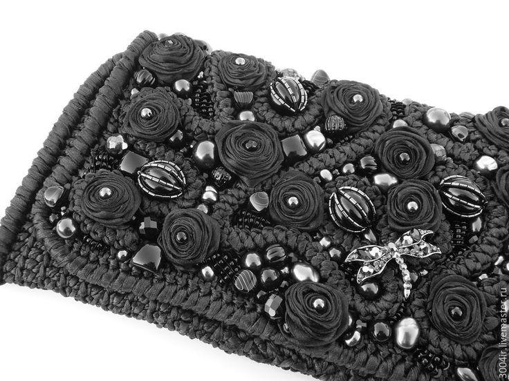 """Купить Клатч """" Black rose"""" из атласных лент. - черный, цветочный, клатч вечерний"""