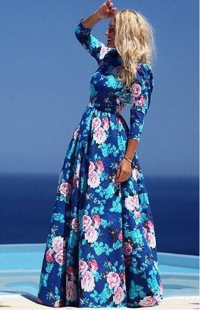 Blue Boho Floral Elbow Sleeve Maxi Dress