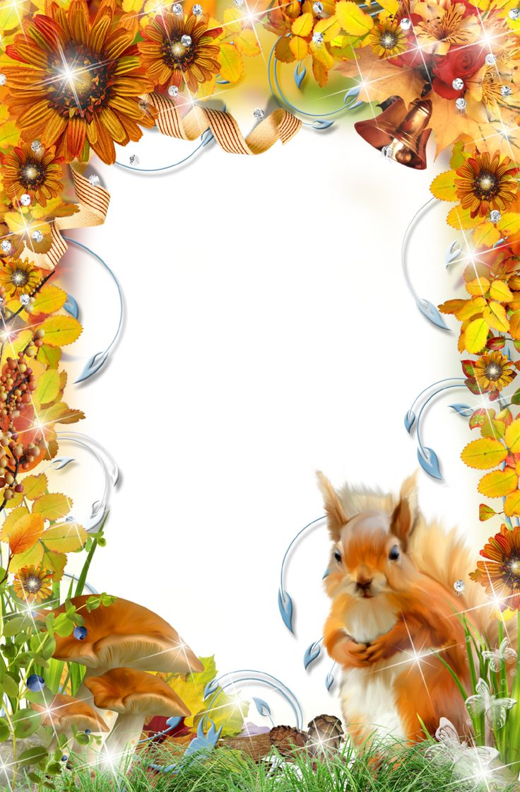 Autumn Photo Frame with Squirrel