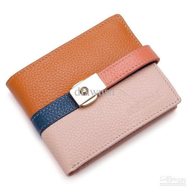 Ultra-thin women's wallet color block two-fold short design