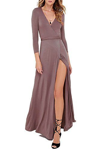 a9c544be309 Vivicastle Women s Sexy Long Sleeve Tulip Wrap Slit Front Full Long Maxi  Dress at Amazon Women s