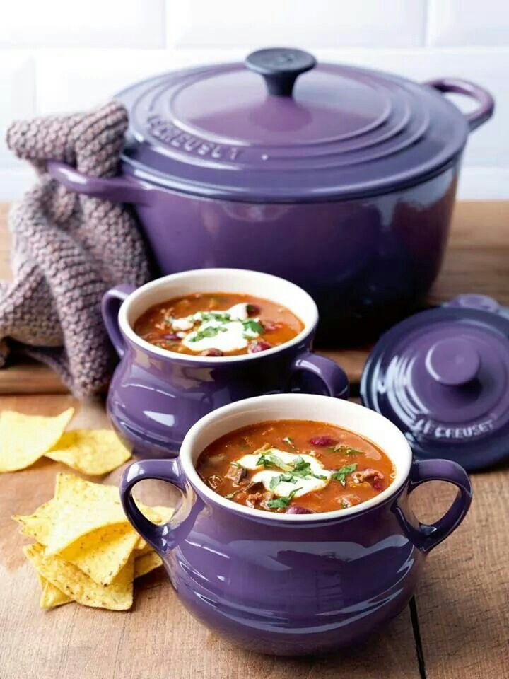 I love the purple pans, Dutch oven, and cookware. It's possible to enjoy soup in the summer. Try one of these cool recipes.