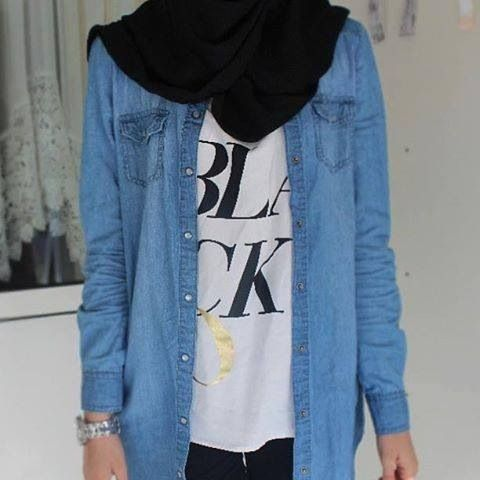 Like the graphic and jean jacket layering.