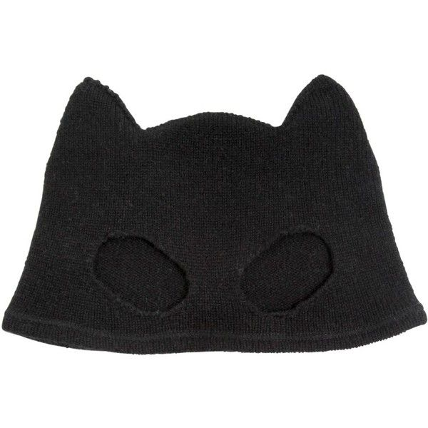 SILVER SPOON ATTIRE Cashmere Mask Beanie Hat - Black (4 560 ZAR) ❤ liked on Polyvore featuring accessories, hats, beanie, black, black beanie, cat ear beanie hat, cashmere beanie, black beanie hat and beanie hats